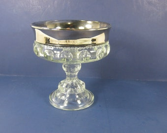 Vintage SILVER FLASH COMPOTE Kings Crown Thumbprint Candy Nut Dish Indiana Glass