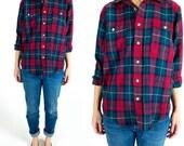 Vintage 1980s Classic Red and Green Tartan Plaid Flannel Unisex Button Down Boyfriend Shirt Size S Small M Medium