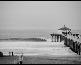 Manhattan Beach Print, 'Surf the Pier', Surfing Photography Print, Canvas Wrap, Beach Art, Home Decor, Black and White Fine Art Print