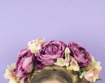Oversize Peony and Hydrangea Crown in Heather