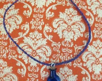 Little Potion Bottle Choker, Small Blue Glass Vial with Cork on Braided Purple Hemp Cord