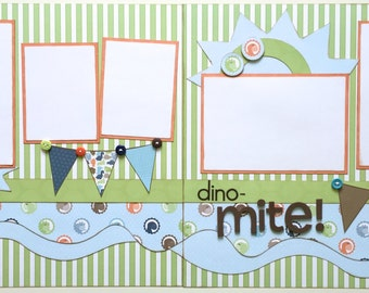 Dino-Mite Pre Made 2 Page 12x12 Scrapbook Layout