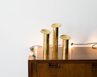 Large Scale Danish Modern Handmade Brass Candle Holder Set // Mid Century Modern Home Decor // Denmark