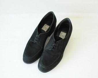 Vintage SPA Easy Spirit Black Matte Leather Oxford Pumps womens 7 1/2