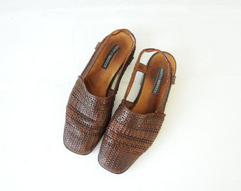 Vintage Sesto Meucci Brown Woven Leather Sandals, Made in Italy, Womens 7 / ITEM018