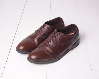 Vintage Red Wing Brown Leather Oxford Saddle Shoes, Made in USA, Mens 10 / ITEM300