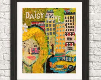 Daisy -daisy love-yellow hair-flower girl-art print-home decor-taxi and girl