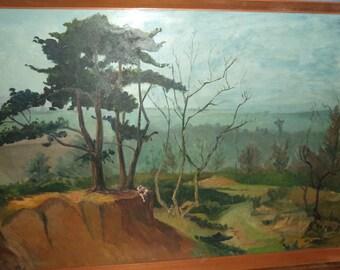 Original vintage framed landscape oil painting from the 1960's.