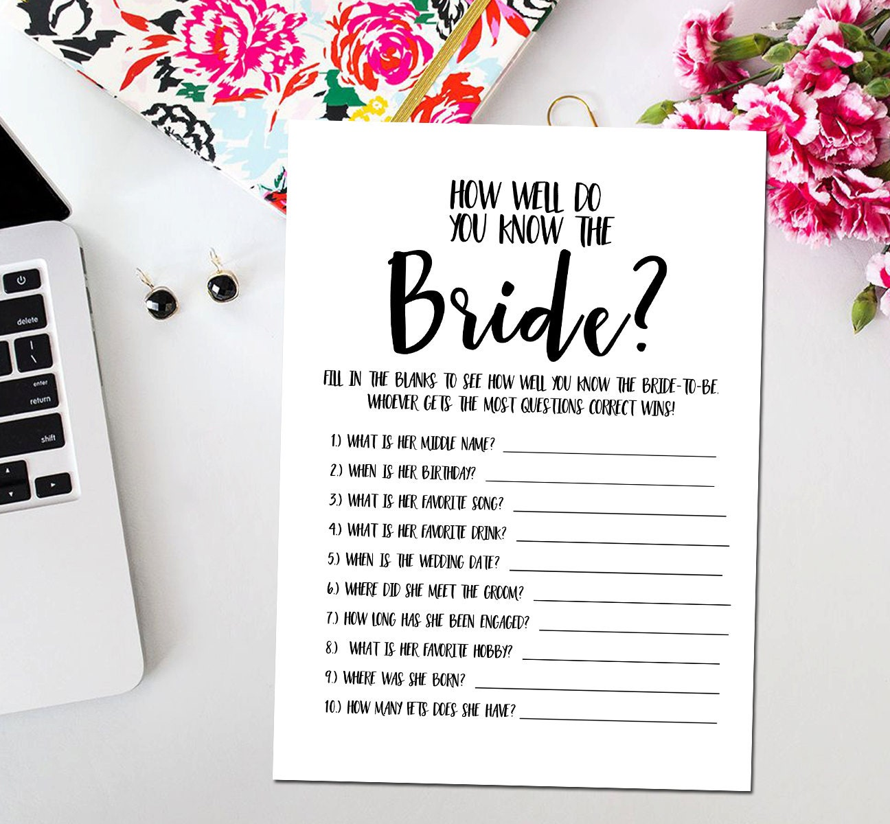 How Well Do You Know The Bride Printable Card Printable Black