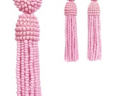 Rose Quartz/pale PINK color tassel Earrings with Clip ons or sterling SILVER stud / Choose your length / high quality handmade earrings