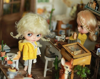 Miss yo 2016 Summer & Autumn - Yellow Short Autumn Coat for Blythe doll - dress / outfit