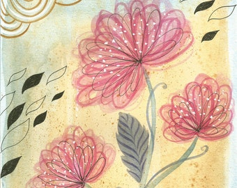 Flower Study #1, Original Art on paper, Watercolor and pen Painting, Abstract Illustration for Home Decor, Mixed Media Art of a Flower