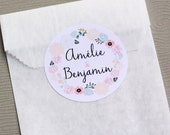 12 custom stickers for wedding - custom with names and date - floral stickers - custom wedding stickers - shabby wedding - french handmade