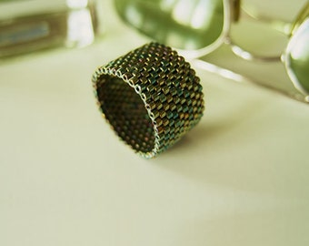 Metallic Green Ring, Beaded Green Ring, Green Ring Band, Dreadlock Bead, Couple Rings