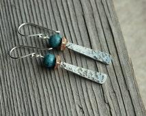 Silver Zen Earrings- Turquoise Earrings, Artisan Earrings, Hammered Earring, Asian Earrings