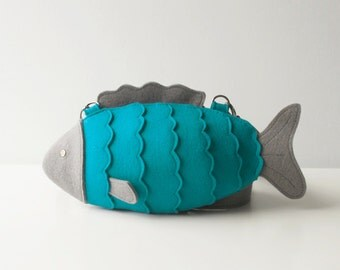 Felt Fish Bag Turquoise Small Felt Purse