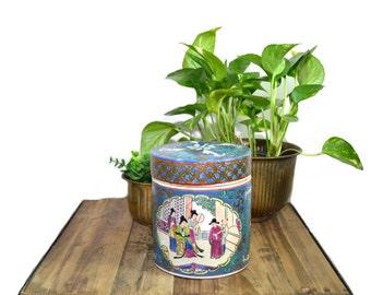 Vintage Ginger Jar Asian Ginger Jar Chinoiserie Decor Chinese Asian Decor Blue and White Ginger Jar