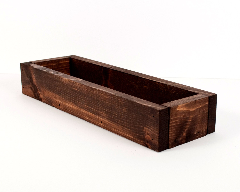 Wood trough centerpiece display storage bin