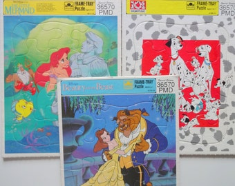 Vintage Set of Three Disney Frame-Tray Puzzles