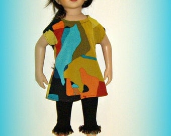 "Handmade Doll Clothes ""Modern Art Maru"" for 20"" Maru and Friends, Dianna Effner Sculpt, Multicolor Tunic and Capri Leggings"