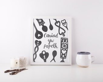 Cariad Yw Popeth. Welsh Love Spoons. Love is Everything. Welsh Print. 8x10.  St Dwynwen. Valentines Day. Caru. Lovespoon. Welsh wedding.