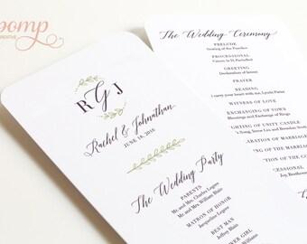 Hand drawn Wedding Program Printable -- Calligraphy, Monogram, Leaves, Greenery, Dark Purple, Sage Green