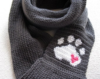 Paw Print Knit Infinity Scarf. Charcoal gray knitted circle scarf with a small pink heart. Long knit cowl scarves.