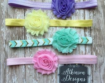 Baby Headband Set,Pastel Rainbow Chiffon Shabby Headband Set, Newborn, Infant, Toddler, Adult, Infant Headband