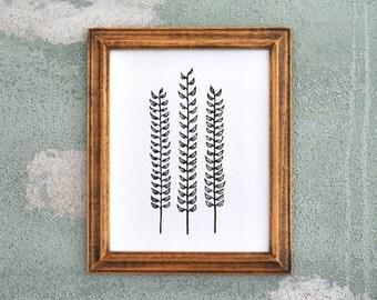 Forest Ferns Black - Linocut Botanical Print