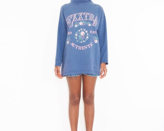 90s Pastel Floral Turtleneck Sweatshirt