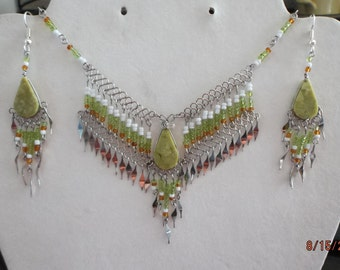 SALE Native American Style Beaded Green White and Amber with Serpentine Stone Statement Necklace Southwestern, Hippie, Boho Ready to Ship