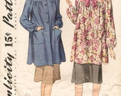Lovely Vintage 1940 Simplicity 3501 Yoked Smock or Housecoat in Two Lengths Sewing Pattern Bust 36
