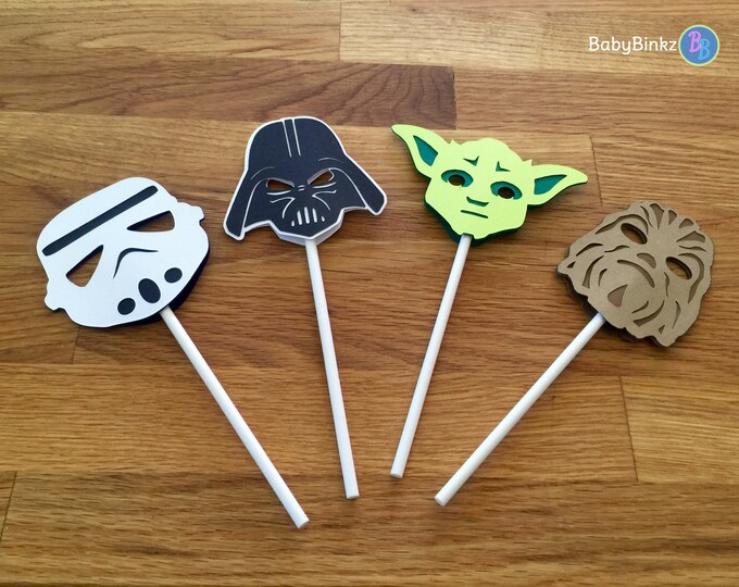 Cupcake Toppers: The Classic Star Wars Set - party wedding birthday jedi force darth vader yoda decoration storm trooper chewbacca