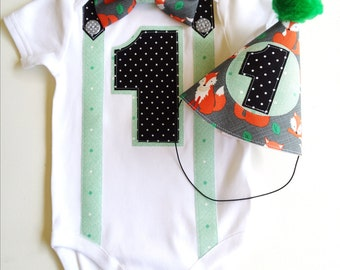 Forest Foxes Woodland Theme Baby Boy's First Birthday  1st birthday Outfit Boys Bodysuit
