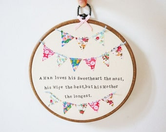 Embroidery hoop wedding present for Grooms Mother.