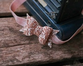 Rose Gold Glitter Bow,Chunky Glitter Fabric,Chunky Glitter Bow,Neutral Baby Headband,Neutral Bow,Nude Headband,Sparkle Bow,Glitter Bow