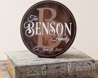 """Family Established Sign, Personalized Wood Family Established Sign, Wood Last Name Sign, 10"""" Tabletop Display"""