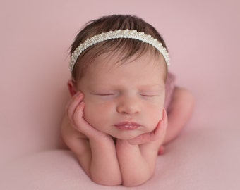 Pearl Beaded Braided  Trim Headband - perfect for newborns, photo shoots, Baptism, Christening, Baby Shower Gift, by Lil Miss Sweet Pea