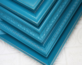 Picture Frame Turquoise Your Choice Size Turquoise Blue Hand Painted Distressed Made to Order