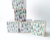Wood blocks. Outdoors theme nursery decoration. Nature decor / Trees /Green. Kids. Wooden block set for Baby. Stacking toy. children's gift.