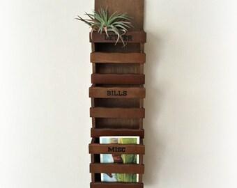 Vintage Wooden Letter Sorter Rack Mail Organizer Wall Hanging
