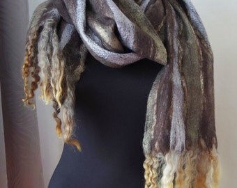 Black River shawl. Pure wool wet felted soft large scarf, unique lovely hand felted accessory, one-of-a-kind art scarf