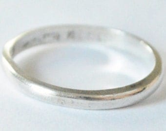 SALE Vintage Sterling Silver Taxco Mexico Simple Rounded Band Size 12