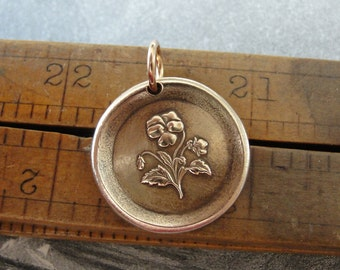 "Pansy Wax Seal Charm - antique wax seal jewelry pendant - Language of Flowers - Heart's-Ease ""In My Thoughts"" by RQP Studio"