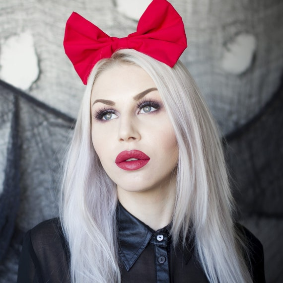 Red oversized bow headband Rockabilly Pin up girl Snow White