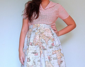 Handmade world map full skirt