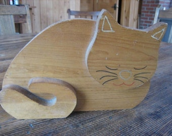 Primitive Wooden Wedge Cat Door Stop Handmade in Maine 1950s