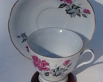 Cup and Saucer  Fine Porcelain Rose Tea cup and Saucer