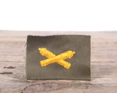 Military Patches / US Military Insignia Sew Patch / Army Crossed Cannons Artillery / Military Embroidered Patch / Yellow Crossed Cannons