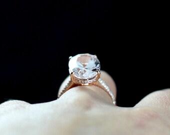 Pink Sapphire, Engagement Ring Typhon & White Sapphire Oval 9ct 15x10mm Custom Size White-Yellow-Rose Gold-10k-14k-18k-Platinum